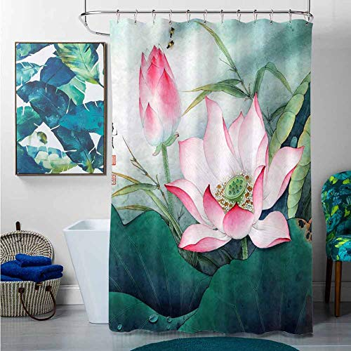 StarsART Shower Curtains Grey and Pink Lotus (9),W60 x L72 Cotton Christmas Shower Curtain