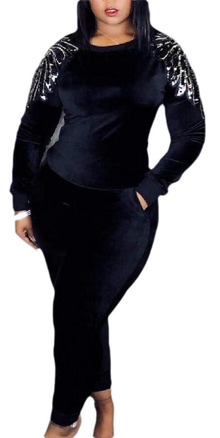 霧深い静かなエレクトロニックレディース2ピース衣装スーツ ボディコンロングスリーブTシャツトップとロングパンツトラックスーツ