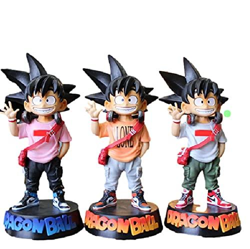 agzhu 3 Unids / Set 20Cm Dragon Ball Goku Kakarotto Figurine DBZ Goku PVC Figuras de Acción Juguetes Cos Youth Goku Anime Figurine Model Kids Gifts