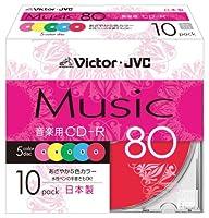 Victor 音楽用CD-R 80分 カラープリンタブル 10枚 日本製 CD-A80XR10