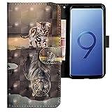 CLM-Tech kompatibel mit Samsung Galaxy S9 Hülle, Tasche aus Kunstleder, Katze Tiger grau, PU Leder-Tasche für Galaxy S9 Lederhülle