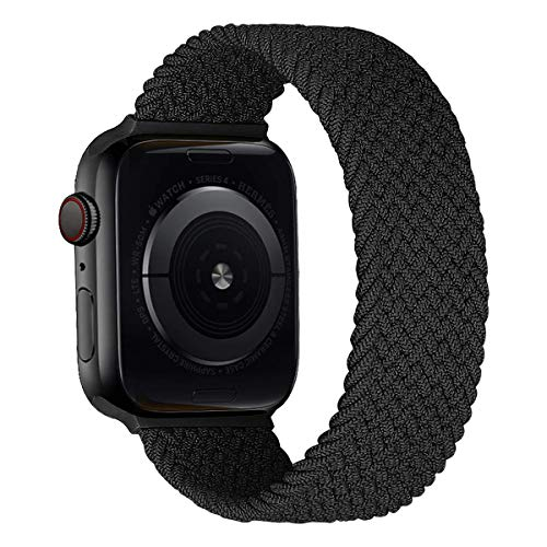 MroTech Correa Compatible con Apple Watch 44mm 42mm Pulseras de Repuesto para iWatch SE Serie 6 5 4 3 2 1 Correa de Nailon elástico Banda Elastic Nylon Woven Loop Sport Band 42/44 mm-Negro carbón/S
