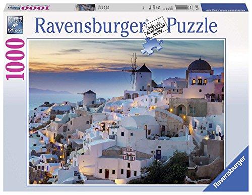 Ravensburger- Serata a Santorini Puzzle da Adulti, Multicolore, 1000 Pezzi, 19611