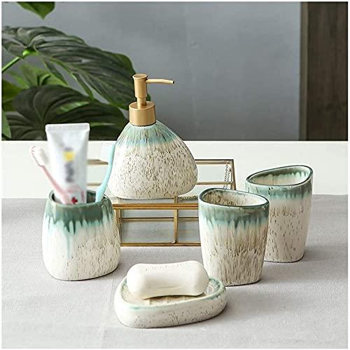 BAIHAO Juego de dispensador de jabón de cerámica para baño de 5 Piezas, Incluye dispensador de jabón con Soporte para Cepillo de Dientes, Vaso, Plato de jabón (Verde)