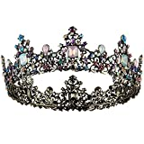 Crownguide Full Circle Rhinestone Wedding Tiaras Crowns For Women Luxury Queen Crown Bridal Hair Accessories Colorful