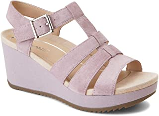 Women's Hoola Tawny T-Strap Wedge - Ladies Platform Sandal with Concealed Orthotic Arch Support