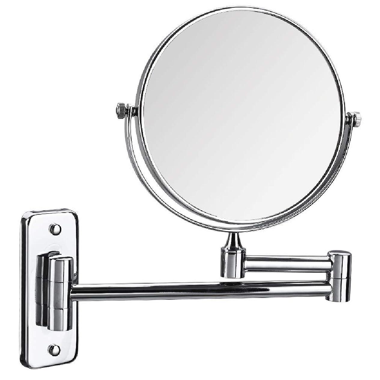 ホールドオールシーズンスピーチCUUYQ 化粧鏡 壁掛け式 3倍拡大 けメイクミラー 両面浴室用ミラー360 °回転 伸縮可能折り 化粧ミラー,Silver_8inch