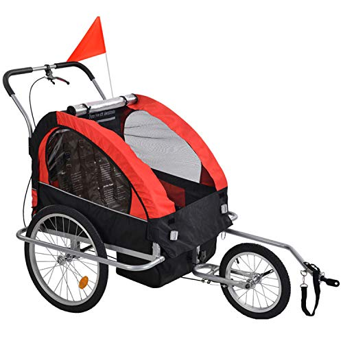 2-in-1 Double 2 Seat Bicycle Bike Trailer Jogger Stroller with Handle Bar and Wheels Bike Hitch Safety Flag, 20 Inch Wheel Size, Foldable Bike Wagon...