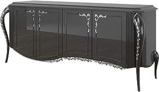 Casa Padrino aparador Barroco Negro/Plata 218 x 56 x A. 94 cm - Mueble de salón Noble con 4 Puertas - Muebles Barrocos