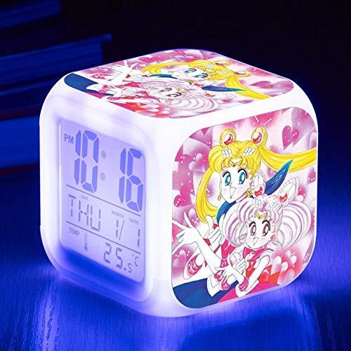 fdgdfgd 3D-Zeichentrickfigur Sailor Moon Doll Anime Toy Doll Wecker LED Bunte leuchtende Datum Wecker mit Thermometer