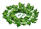 Aibesser Efeu Künstlich, Kunstpflanze Balkon Dekoration Vintage Plastik Pflanze 12 Stück Grün Efeu mit Nylon Kabelbinder Pflanzen Efeuranke für Garten Hochzeit Party Wanddekoration (12 * 2.2M) (Grün)