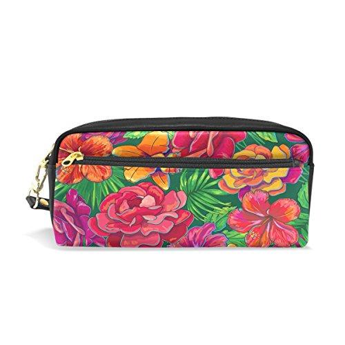 Trousse de voyage Imprimé floral, coloré, maquillage Pouch Grande capacité étanche Cuir 2 compartiments pour filles garçons femmes Hommes