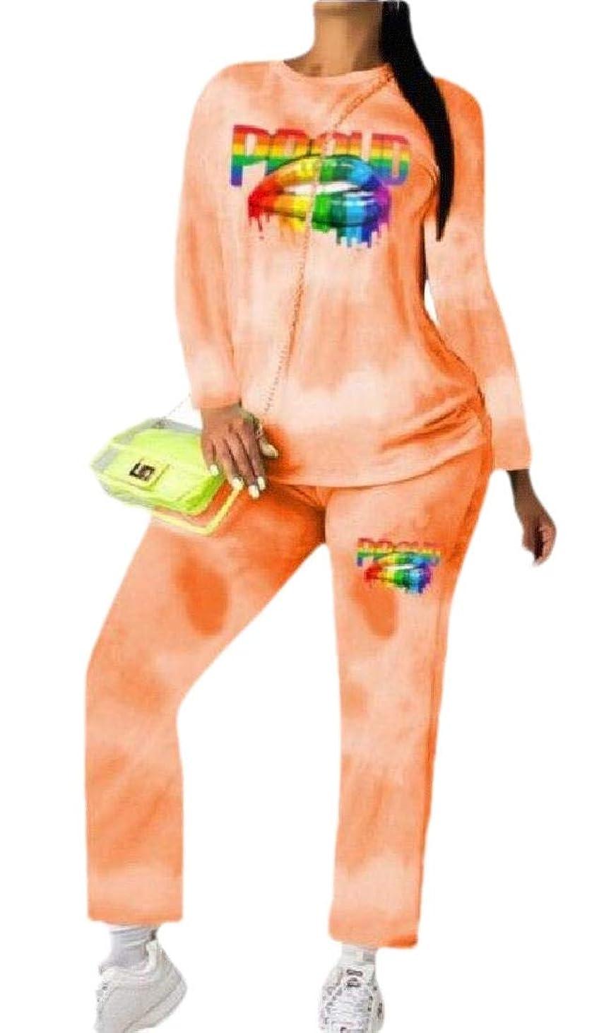 合意不十分な進捗レディース2ピース衣装ジョガーパンツセット+長袖タイ染料シャツ スポーツウェア