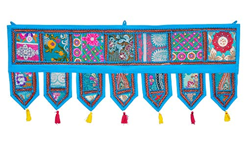 ANJANIYA - Indian Cotton Bohemian Ethnic Vintage Patchwork Door Topper Valances Window Valances Wall Hanging Boho Home Decor Hand Embroidered Toran Hippie Living Room Decor (38x13 inch) (Turquoise)