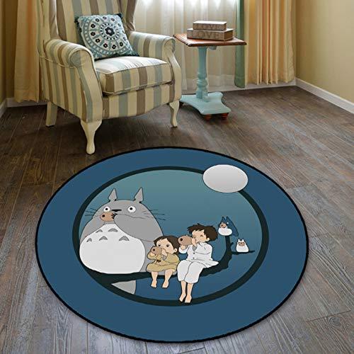 chengcheng Totoro My Neighbor Cat Alfombra Redonda Alfombrilla Alfombrilla Alfombra para El Hogar Alfombra del Hotel Sala De Estar Alfombrillas Antideslizantes 100 Cm