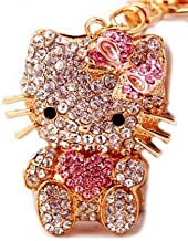 Beautiful 3d Luxury Pink Hello Kitty Heart Rhinestone Keychain Purse Clipper Gift Comes with Free Retro Wooden Textured Charm