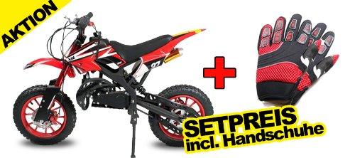 "Dirtbike Apollo 49cc 10"" Crossbike Pocket Minicross Motorcross Rot"