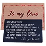 Engraved Wallet Insert, Anniversary Gif ts for Him, Gifts for Boyfriend from Girlfriend, Anniversary Card for Husband from Wife, Cute Mini I Love You Note Card,Personalized Deployment Gift for Christmas Birthday Fathers Day Valentines Day