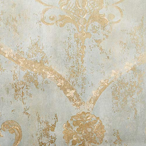 Wallpaper Gold Regal Damask on Aqua Textured Background