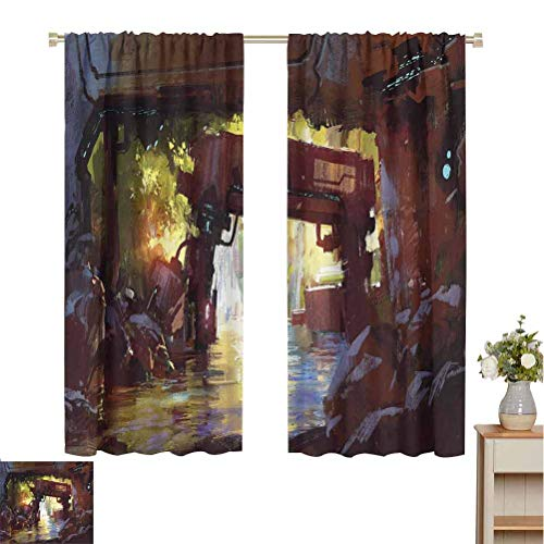 Industrial Decor Best Home Fashion Thermal Insulated Blackout Curtains Watercolor Artwork Futuristic Forest Old Machine in Deep Woods Waterfall Curtain Backdrop  W63 x L45 Multicolor