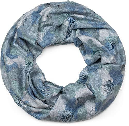 styleBREAKER Loop Schal mit Camouflage Muster im Destroyed Vintage used Look, Schlauchschal, Tuch, Unisex 01016134, Farbe:Blau-Grün