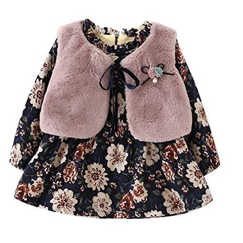 Vestido para niña con forro polar y forro polar y chaleco grueso de pelo sintético, 2 unidades ver fotos 14-24 meses