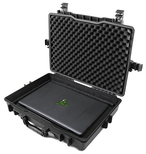 Casematix 15.6 to 17 inch Waterproof Laptop Hard Case Compatible with Razer Blade Gaming Laptops Razer Blade 15, Razer Blade Pro 17, Razer Blade Stealth and More Razer Accessories