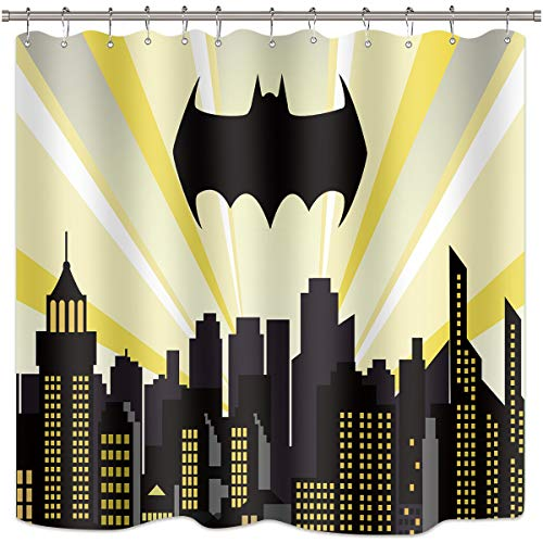 Riyidecor Superhelden-Duschvorhang, Batman-Stadtlandschaft, Nachtgebäude, Szene City Cartoon Skyline Film Kid Home Bad Decor Stoff Polyester wasserdicht 182,9 x 182,9 cm inkl. 12 Kunststoffhaken