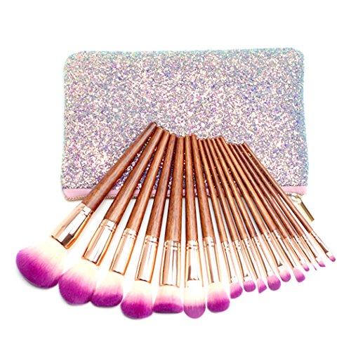 Kapmore 17 PCS Maquillage Brosse Ensemble Visage Poudre Brosse Artificiel Fibre Cosmétique Brosse en Bois Sourcil Brosse avec étui
