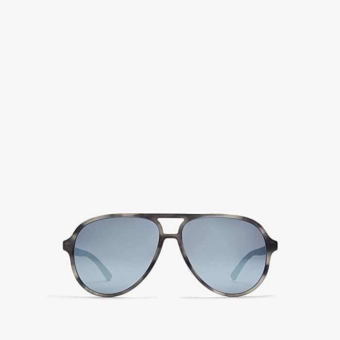 Gucci  GG0423SA (Shiny Flamed Grey Havana/Grey Mirror) Fashion Sunglasses