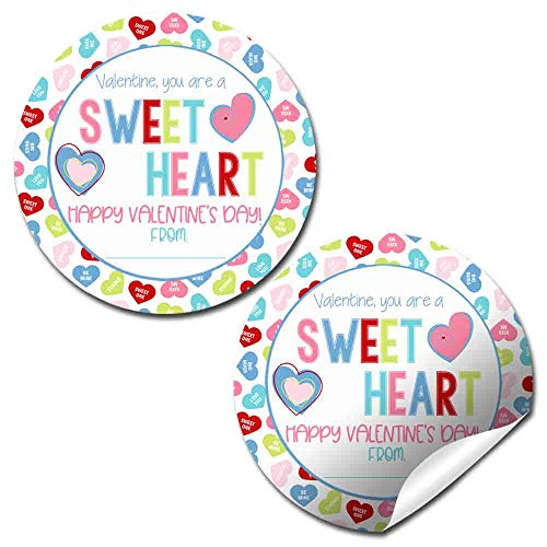 You're A Sweetheart Candy Heart Valentine Party Favor Sticker Labels for Kids, 40 2' Party Circle Stickers by AmandaCreation, Great for Classroom Valentines, Envelope Seals, More