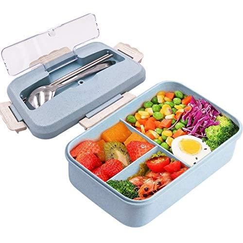 ZSWQ Caja de Bento Lunch Box Infantil,Fiambreras con 3 Compartimentos para niños, para Desayuno, microondas, para Picnic, para niños y Adultos