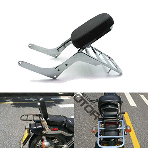 Motorcycle Backrest Sissy Bar+ Luggage Rack Pad Compatible with/Replacement for Honda Rebel 250 CMX 250 CA250 All Year Chrome