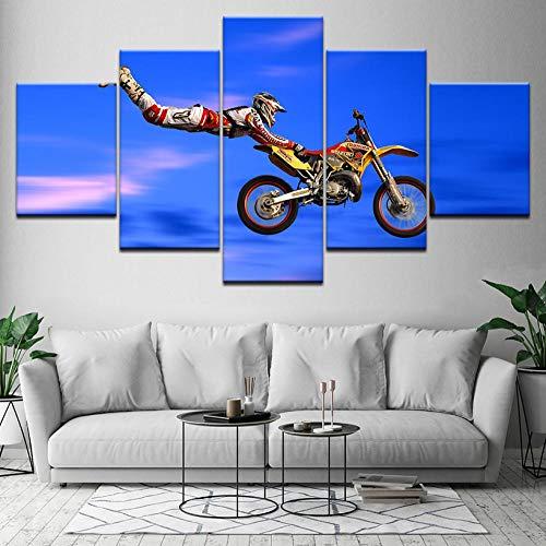 ZZHPlanet Neue Hauptdekorationgeschenke Einfache Motocross 5 Stück HD Tapeten Kunst Leinwanddruck Moderne Poster Modulare Kunst malerei für Wohnzimmer Wohnkultur Geburtstagsgeschenk Seascape abstrakt