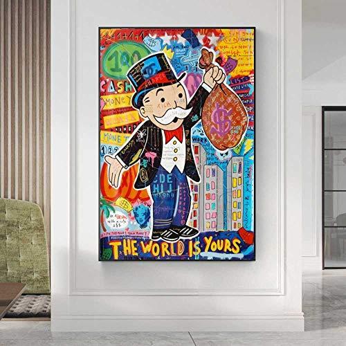 CAPTIVATE HEART Druck auf leinwand 60x90cm kein Rahmen ALEC Monopoly Graffiti Wandkunst Geld Kunst Plakate und Drucke Die Welt gehört Ihnen Moderne Kunst Wandbilder