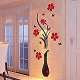 Carolui Schmetterlinge&Blumen Spiegelfläche Wandtattoo Wohnzimmer Moderne DIY Acryl 3D Heimdekorationen Wandaufkleber(D)