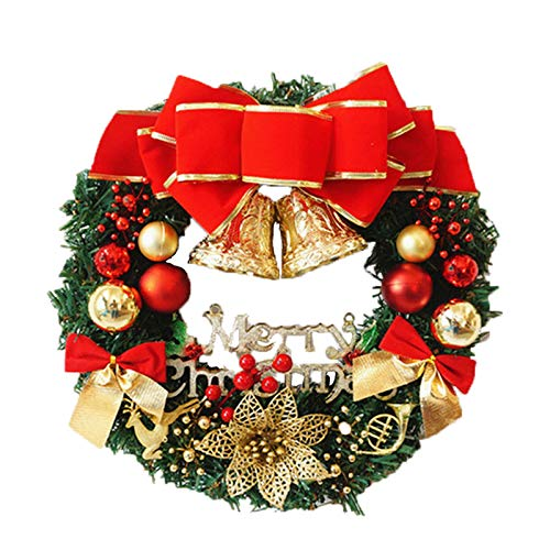 Lyplus Christmas Wreath, 24-inch Artificial Christmas Wreath, Bells, Bows, red Berries.Perfect for Indoor, Outdoor, and Outdoor Christmas Decorations.