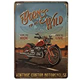 BOEMY Chapa Decorativa Vintage Moto Clásica | Placa/Cartel de Pared de Metal de Moto Antigua para Garage, Casa o Bar | Medidas 20x30 cm.