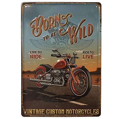 BOEMY Chapa Decorativa Vintage Moto Clásica | Placa/Cartel de Pared de Metal con Relieve [ Moto Antigua ] para Garage, Taller, Casa o Bar | Medidas 20x30 cm.