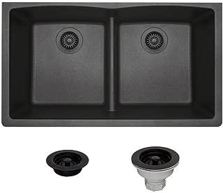 812 Low-Divide Double Bowl Quartz Kitchen Sink, Black, Strainer/Flange
