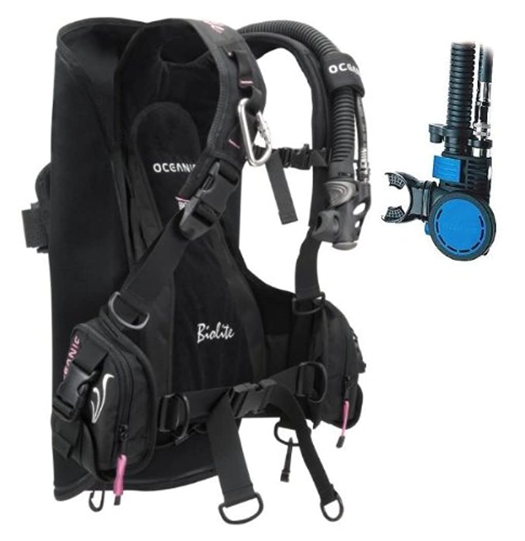 振るキラウエア山目指すNew Oceanic BioLite Travel Scuba Diving BCD with Air XS 2 Alternate Air Inflator Regulator Installed on BCD - Pink (Size Medium) by Oceanic