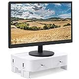Yorbay Monitorständer Bildschirm-Ständer Laptopständer mit 2 Schubladen Aufbewahrungsfunktion, höhenverstellbar, für Computer, Laptop, Bildschirm, Drucker, TV, Weiß