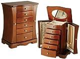 Caja de madera para joyas, con espejo, diseño curvado