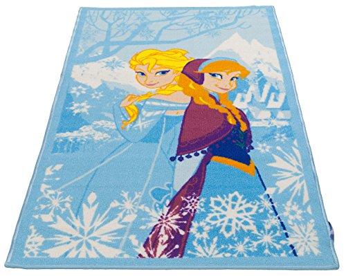 Kinder Teppich Kinderteppich mit Anna und Elsa - Olaf - Eiskönigin - Frozen - Völlig unverfroren - 170 x 100 cm