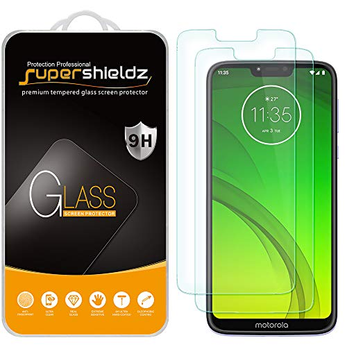 (2 Pack) Supershieldz Designed for Motorola (Moto G7 Power) Tempered Glass Screen Protector, 0.33mm, Anti Scratch, Bubble Free