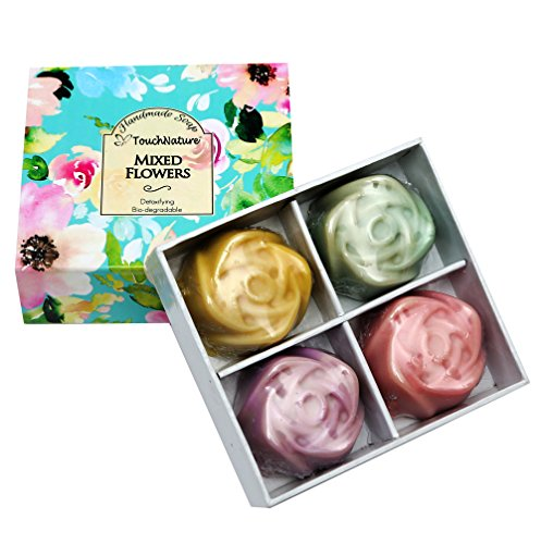 Touch Nature Mixed Flowers Natural Handmade Soap Set- 4 pc Mini Rose Shaped Soaps (Lavender, Rose, Peppermint, Lemongrass). No Parabens & Sulphates.