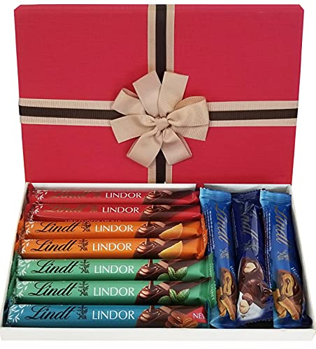 Premium Lindt Chocolates Gift Box | Assorted Yummy Lindor Chocolate Bars in a Beautiful Luxury Letterbox - Well Presented Chocolate Gift for Women for Special Occasions