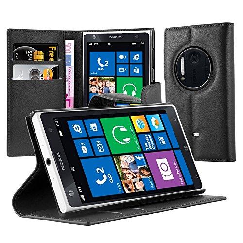 Cadorabo Hülle für Nokia Lumia 1020 in Phantom SCHWARZ - Handyhülle mit Magnetverschluss, Standfunktion & Kartenfach - Hülle Cover Schutzhülle Etui Tasche Book Klapp Style