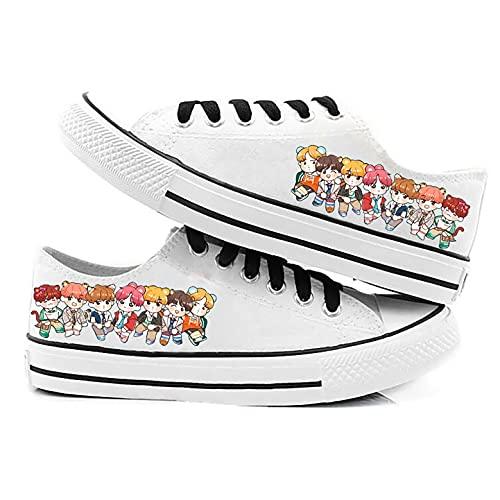 LXYA BTS Zapatos de lona de los hombres juveniles a prueba de balas zapatos de la estrella del estilo de la estrella del hip-hop Zapatillas de encaje transpirables del entrenador transpirable (Soporte