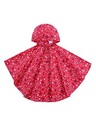 URBEAR Poncho Impermeabile da Bambini Mantella Pioggia Antipioggia Poncho con Bag 80-160cm,Rosso S(80-100CM)